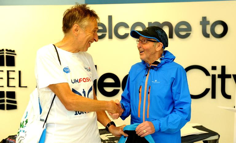 Receiving my age-cat prize from Ron Hill - City of Salford 10K, Sep 2017.